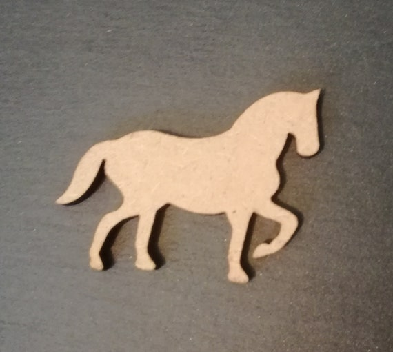 DECORATIONS. 10 x WOODEN MDF HORSE EMBELLISHMENTS PONY SHAPES FOR CRAFTS