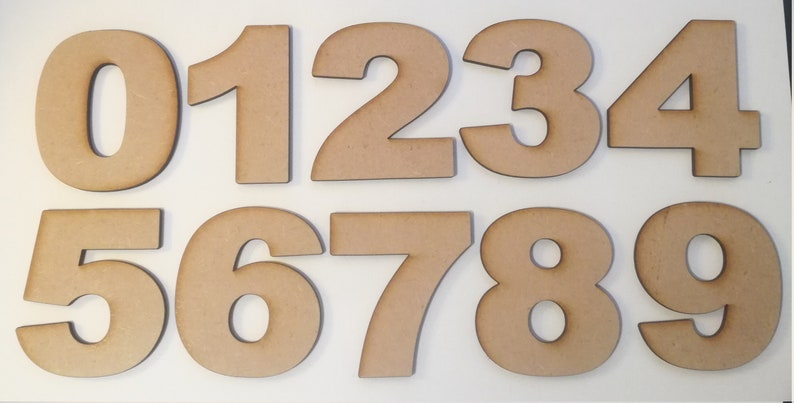 Arial Font Wooden Numbers - Laser Cut MDF - 5cm 7 5cm 10cm 12 5cm 15cm &  20cm high wood numbers - Perfect for signs and craft use