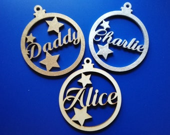 Christmas Name Baubles - Personalised Choose Your Own Name - Customised Xmas Tree Decorations  - Silver / Gold / White / Plain Wood