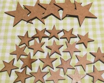 Basic MDF 5 Point Star - Various Sizes - 10 Pack