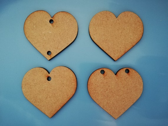 Large Heart Hearts patterns Love Embellishment MDF Birch Laser Cut Wooden Shapes