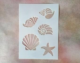 Seashore Reusable Stencil - Beach, Shell, Starfish - 190-micron Mylar - A5, A4, A3