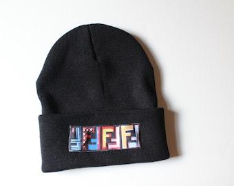 FF Style Hat Designer Inspired Beanie Fashion Inspired Hat Fendi Inspired  FF Logo Skull Cap 6db91d05345