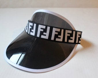 Inspired Fendi FF Visor Elastic Black   White Strap Fendi Inspired Headband  Designer Inspired Sun Visor Elastic Black Multicolor Visor fb210e6eb429