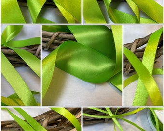 NEW FOR 2021 Berisfords Premium Double Satin Ribbon Shade 9793 Apple Green