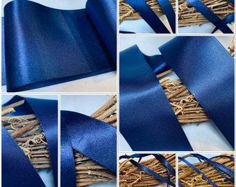 Berisfords premium Quality Shade 13 Navy Blue  Double Faced Satin Ribbon. Choose Length & Width