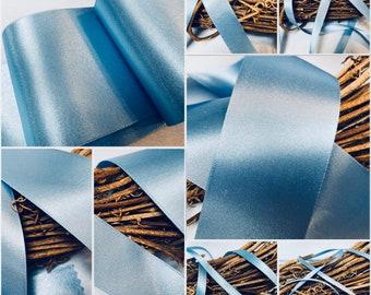 Berisfords premium Quality Shade 76 Cornflower Blue Double Faced Satin Ribbon. Choose Length & Width