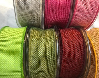 38mm Eleganza Country Hessian Designer Wired Edge Ribbon PER METRE Perfect For Bows & Gift Wrapping