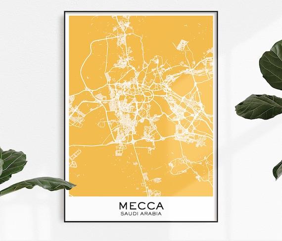 Mecca Map Print, Map Print Mecca, City Print Mecca, Mecca Poster, City Map  Prints, City Maps Mecca, Mecca Map, Map Prints Saudi Arabia