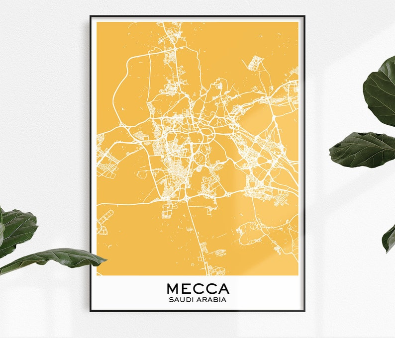 Mecca Map Print, Map Print Mecca, City Print Mecca, Mecca Poster, City on