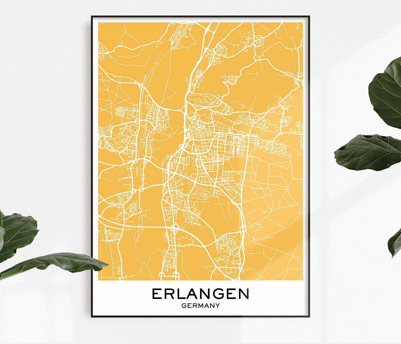 Map Of Germany Erlangen.Erlangen Map Print Map Print Erlangen City Print Erlangen Erlangen Poster City Map Prints City Maps Erlangen Erlangen Map Map Prints