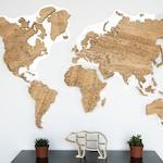 Wooden World Map, Oak Tree, Personalised wood wall decor, office decor, travel map, housewarming gift, Large Wall art