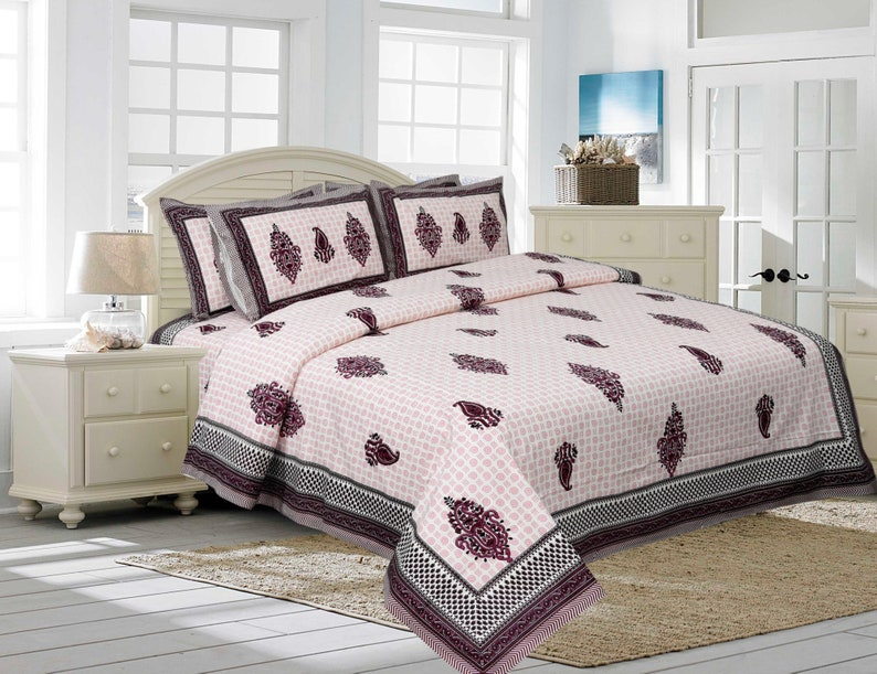 Rajasthani Design Bedsheet Size 90x108 Inch Indian Hand Printed Pink Color King Size Bedsheet with 2 Pillow Covers