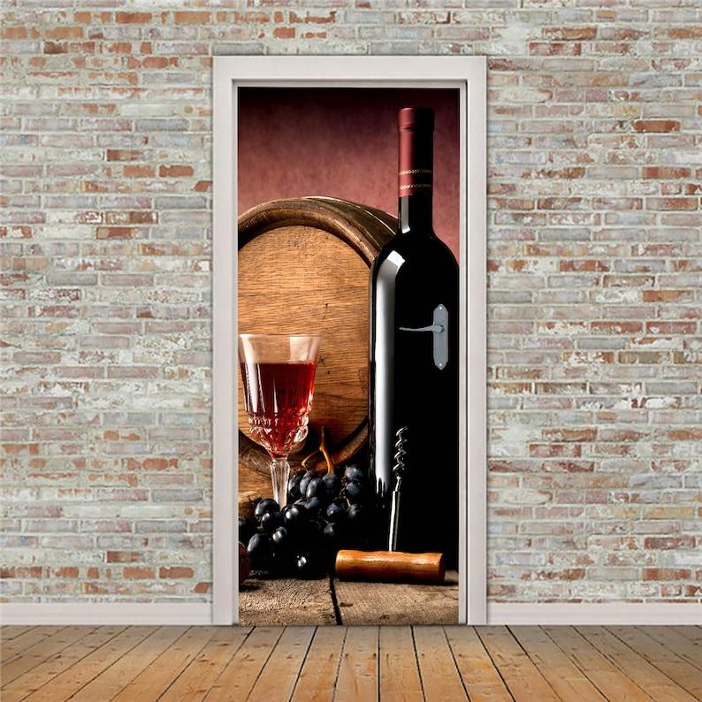 3D Wine Cover Wine Kitchen Stickers Bedroom Wine Door Skin ND67 Kitchen Cafe Peel and Stick Door Decal Grapes Removable Door Mural