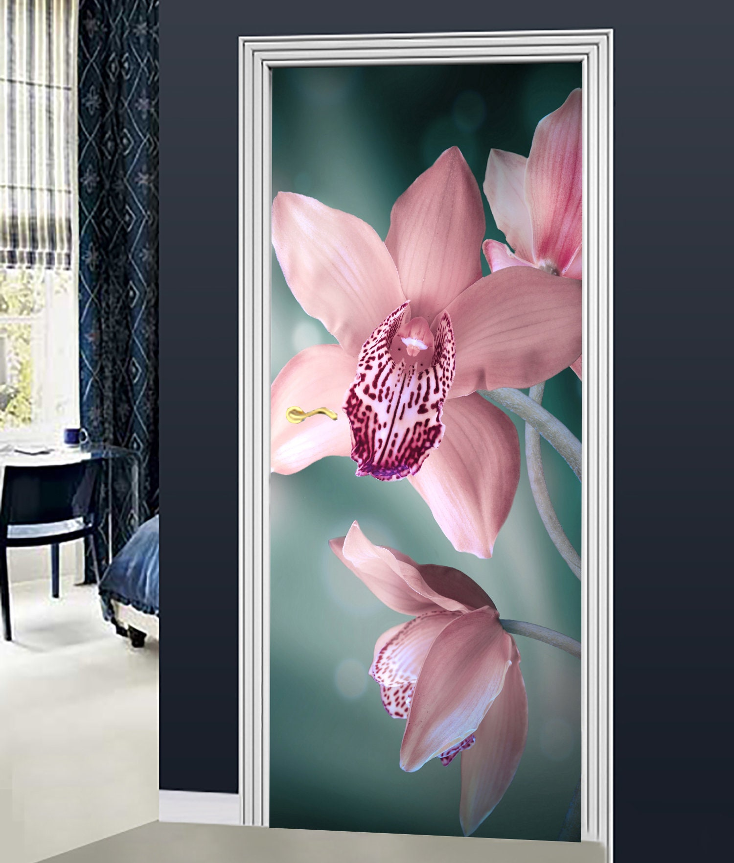 3D Wall Sticker Decoration Self Adhesive Door Wall Flower Orchid and stones