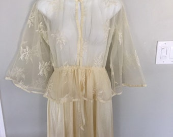 e8f8b94642d Vintage 1970s Lingerie Sheer Nightgown