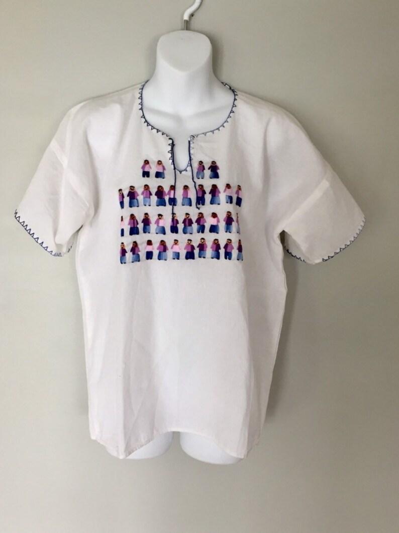 Handwoven Blouse Boho clothing Vintage Folk Blouse Ethnic Guatemalan tunic Vintage Folk Blouse Hand embroidered Bl Vintage 70s Blouse