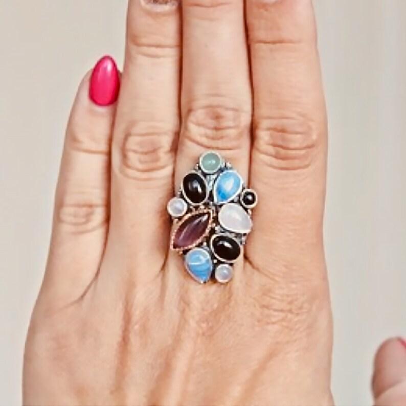 Ulexite Aventurine Rose Quartz Onyx Ring 925 sterling silver Blue Agate Multistone Ring
