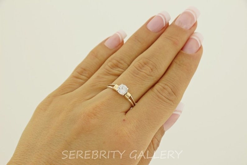 Vinson Ring 9k solid gold and 925 sterling silver bands Wedding ring Dainty minimalist stackable ring