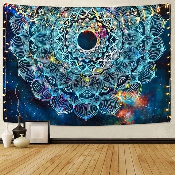 Floral Mandala Tapestry Wall Hanging Psychedelic Tapestry Galaxy Wall Hanging Tapestry Bedspread Mandala Bohemian Wall Tapestry Moon Dorm by Etsy