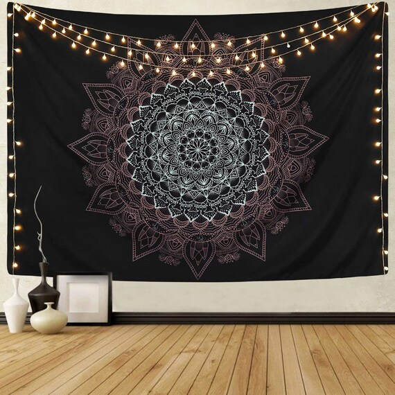 Blue Wall Hanging Indian Dorm Decor Hand Tie Dye Shibori Hippie Mandala Tapestry