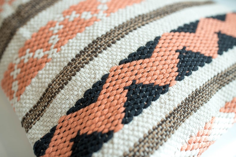 Tribal Style Textured Throw 20 x 20  Mixed Coral Pattern Bohemian Coral Pillow Cover Geometric Handwoven  Coastal Pillow Cushion
