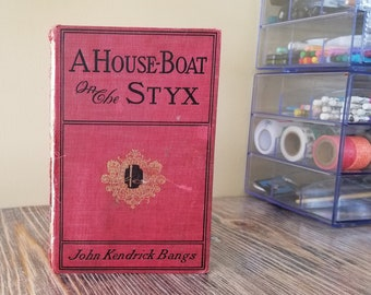 A Houseboat on the Styx - Recycled Book Cover Sketchbook - Kettle Stitch Binding - Zero Waste