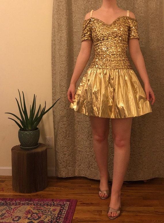 Vintage Gunne Sax Gold Party Dress - image 1