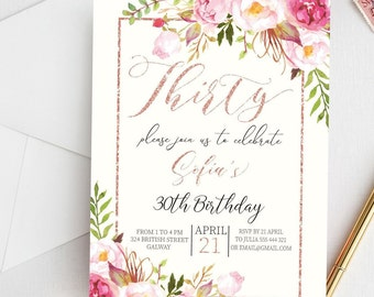 Birthday Invitations For Her 30th Invitation Floral Printable