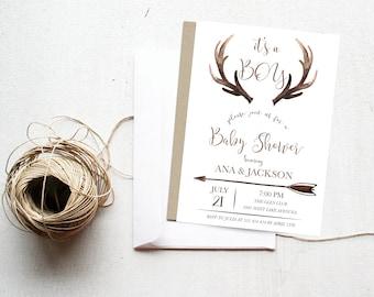 Baby Boy Shower Invitation, Deer Baby Shower Invitation, Rustic, Bohemian