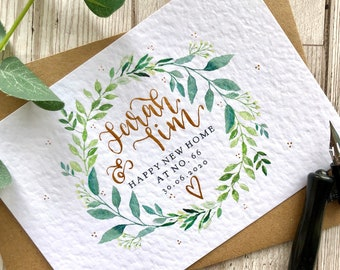 New Home Personalised Card - Personalised New House Card - Wreath New House Card - Housewarming Card - Happy New Home - Calligraphy Card