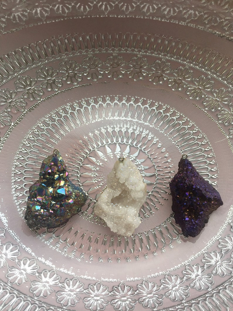 Angel Aura Pendant Opal Druzy Crystal Cluster