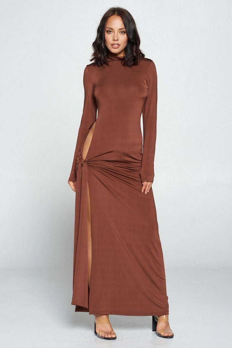 Side Tie Long Sleeve Dress