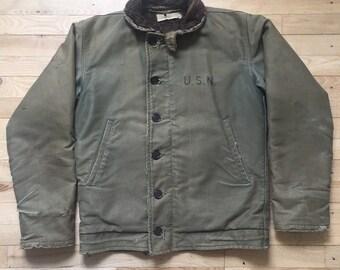 4537de7dee5 Vintage Size 36 1940s USN N-1 Alpaca Deck Jacket Stenciled WWII
