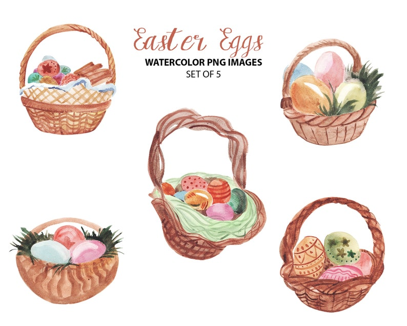 Easter eggs clipart Watercolor illustration Holiday clip art