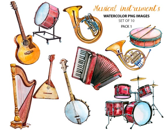 Watercolor Musical Instruments Music Clipart Guitar Clip Etsy