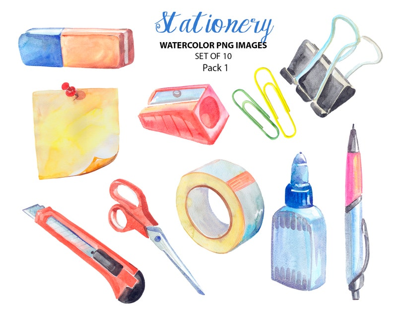Office supplies illustrations Stationery clip art Watercolor office clipart