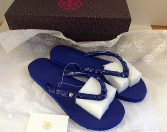 b77f8073e Tory Burch Embellished Jeweled Flip Flop NIB 7 Royal Blue