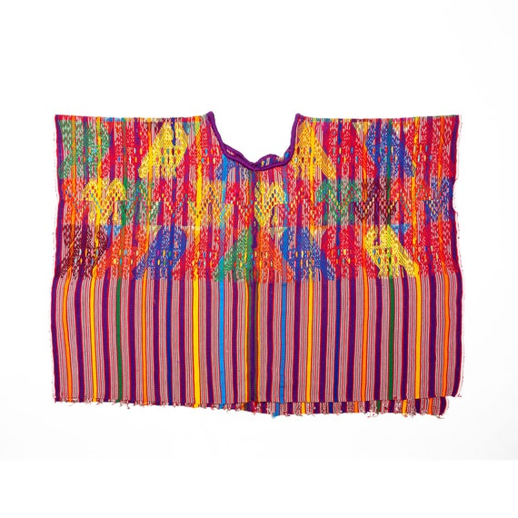 Vintage ethnic fabrics Quetzaltenango huipil Guatemala poncho Mayan vintage huipil