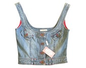 Y2K BLUMARINE NWT corset style scoop neck denim crop top size small-medium