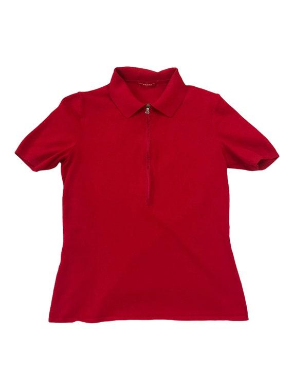 1990s PRADA sport bright red risqué zip up polo t… - image 2