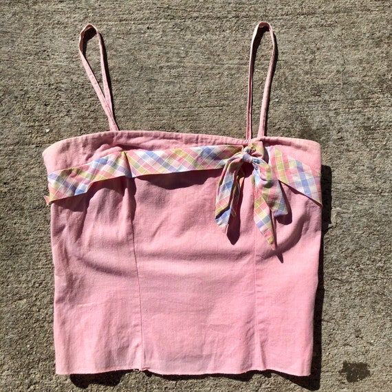 1940s/50s pink corset style crop top w plaid bow … - image 3
