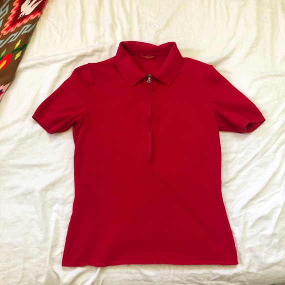 1990s PRADA sport bright red risqué zip up polo t… - image 8