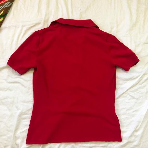 1990s PRADA sport bright red risqué zip up polo t… - image 9