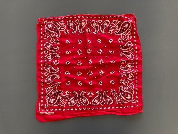 Vintage Elephant Trunk Up Fast Color Sun Faded Red Paisley Western Cowboy Handkerchief Bandana 15.5 x 17