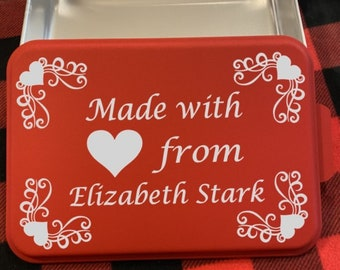Red 9x13 Personalized Engraved Cake Pan