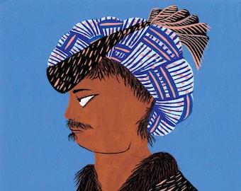 Blue and black miniature profile portrait