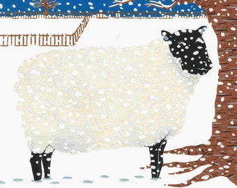 The discreet sheep - Print (format A3) of a gouache illustration