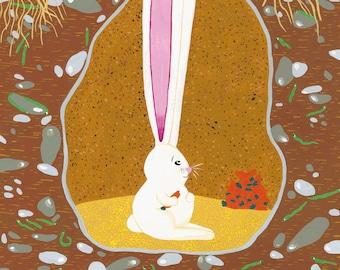 The Curious Rabbit - Print (format A3) of a gouache illustration