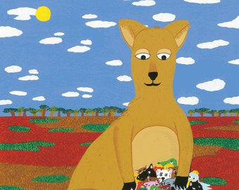The welcoming kangaroo - Print (format A3) of a gouache illustration